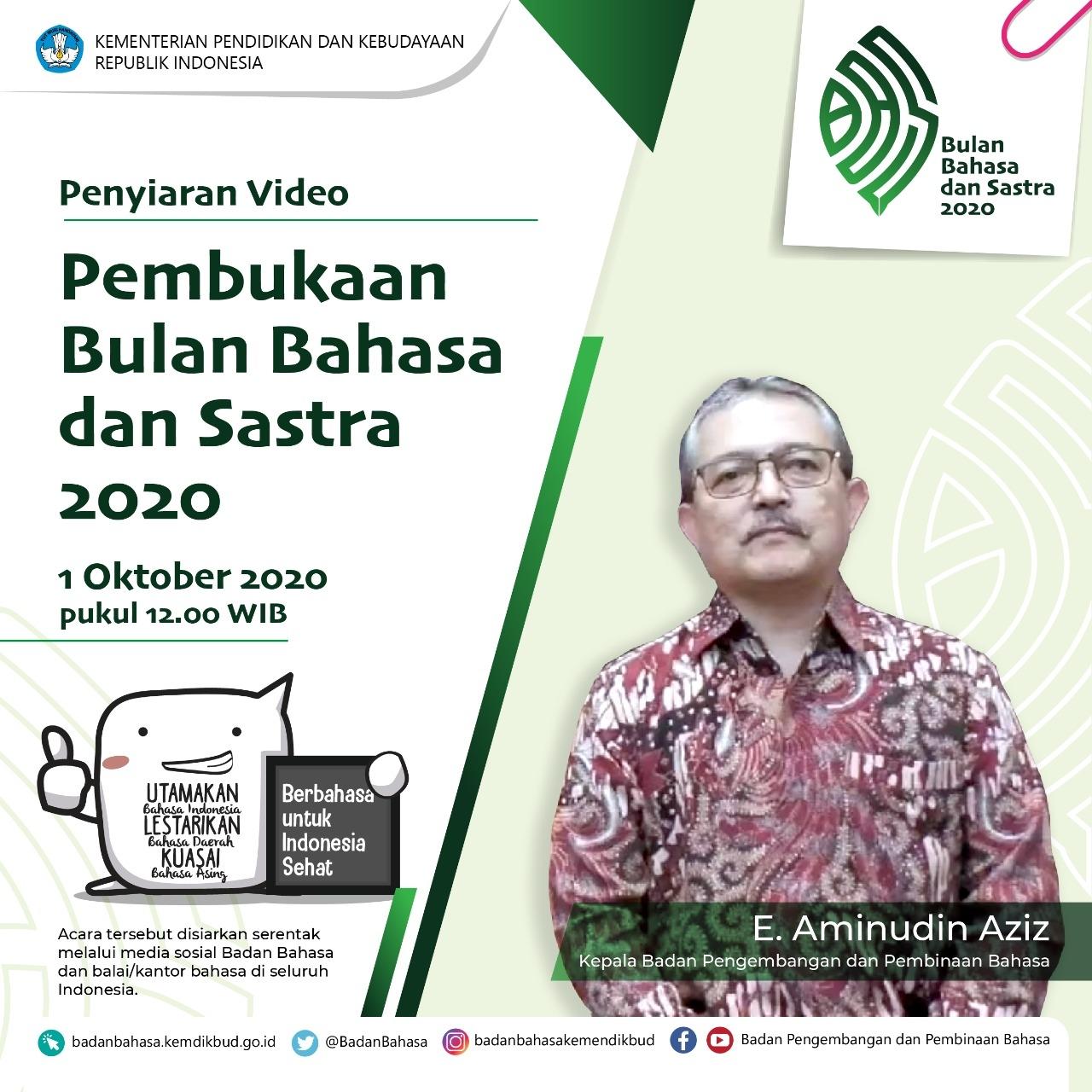 pembukaan Bulan Bahasa dan Sastra 2020 oleh Kepala Badan Pengembangan dan Pembinaan Bahasa, Kemendikbud.