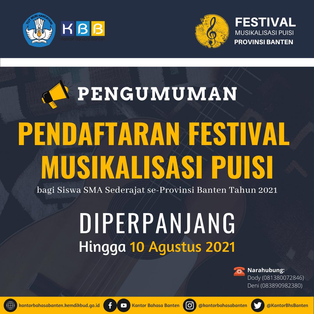 Kantor Bahasa Provinsi Banten memperpanjang Pendaftaran Festival Musikalisasi Puisi Tahun 2021